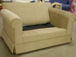 our hughes sleeper chair with the bottom cushion off ready to pull out the mechanism - Sleeper Chair