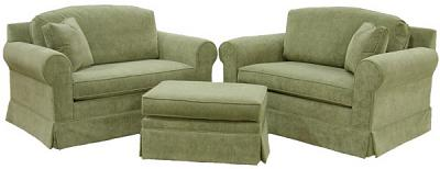 Two Hughes sleeper chairs and ottoman