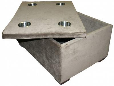 Chad's storage ottoman with stainless cup holders