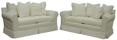 Two Marquis loveseats in Sunbrella