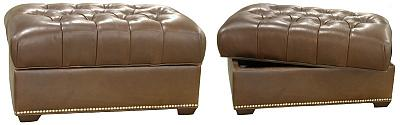 Colleen's Custom Tufted Leather Storage Ottomans