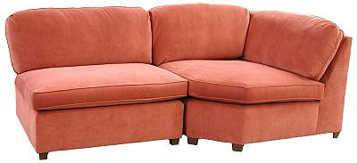 Lin's custom corner wedge chair with armless chair