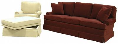 Eliot swivel rocker and sofa with storage ottoman
