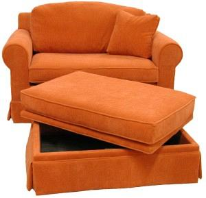 Hughes sleeper chair and storage ottoman